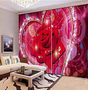 Amazon.com: Wapel Custom 3D Curtains Drapes Rose Printed Curtains ...