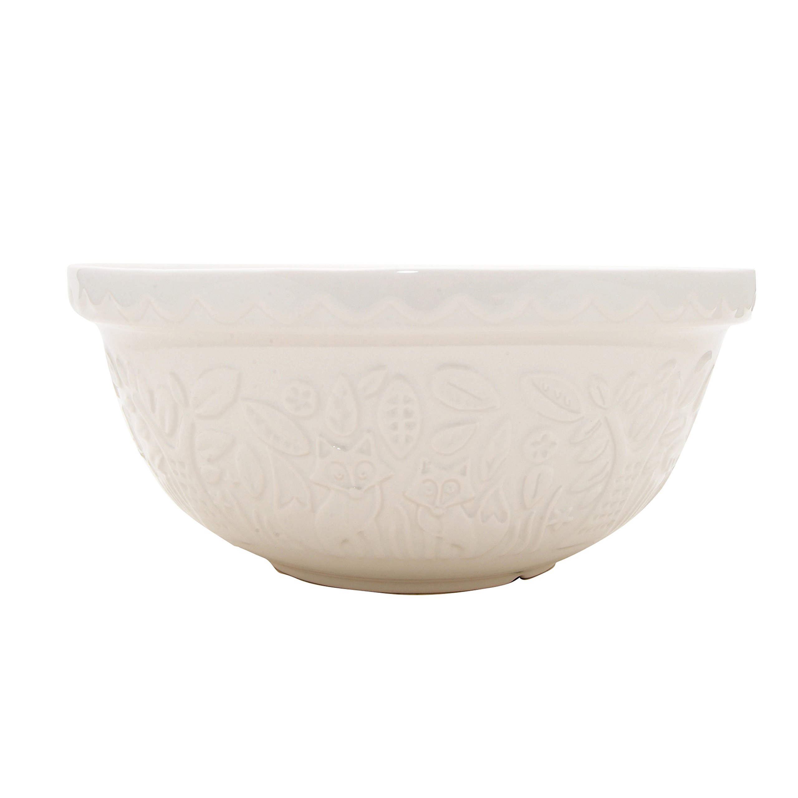 Mason Cash In The Forest Mixing Bowl, Durable Stoneware, Intricate Embossed Fox Design, 4-1/4-Quarts, 11-1/2'' Diameter, Dishwasher and Microwave Safe, Cream