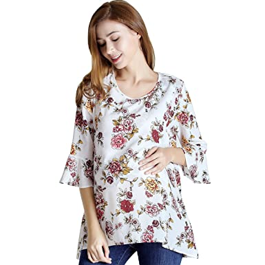 8bd11371c189 Nursing Tops Maternity Pregnancy Chiffon Floral Elbow Sleeve Clothes at  Amazon Women s Clothing store