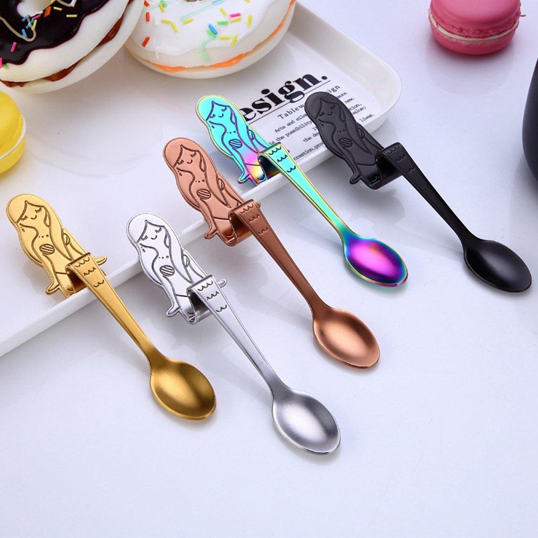 saihui cucharas de acero inoxidable cuchara de café, vajilla, diseño de sirena, agitación cuchara, azúcar cuchara cubiertos cocina Gadget Multicolor: ...