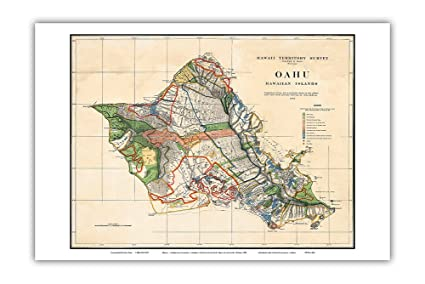 photograph relating to Printable Map of Hawaiian Islands called : Oahu - Hawaiian Islands - Hawaii Territory