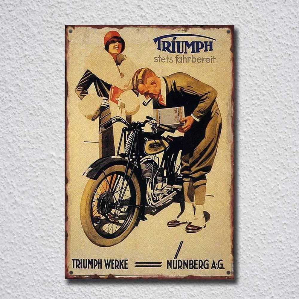 Triumph Motorcycle Stets Fahrbereit Placa Vintage Metal Cartel de Chapa Cartel P/óster de Pared Decorativas Hojalata Signo para Caf/é Bar Pel/ícula Regalo Boda Cumplea/ños