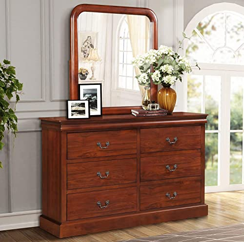 6-Drawer Double Dresser with 37inch X 34 inch Mirror, Cherry Color with Handles Solid Wood 6-Drawer Double Dresser for Bedroom, Hallway, Entryway