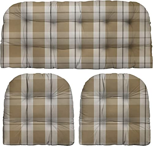 RSH D cor Indoor Outdoor 3 Piece Tufted Wicker Cushion Set 1 Loveseat 2 U-Shape Choose Color Size Branson Birch Tan Beige Big Buffalo Plaid