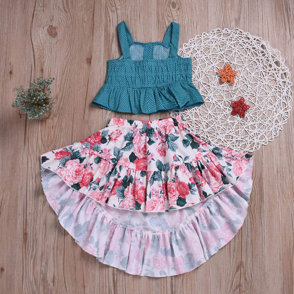 2019 Girls Skirt Baby Girls Sleeveless Bohemia Dot Straps Shirt Tops Floral Dress 2PC Clothes Sets
