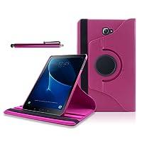 3 in 1 Custodia Samsung tab a 10.1, SAVFY Ultra Sottile e Leggera 360 Degree Case per Samsung Galaxy Tab a6 10.1 (2016) SM-T580N / T585N Smart Cover con supporto / sonno / sveglia + Pellicola Protettiva + Pennino (Hot Rosa)