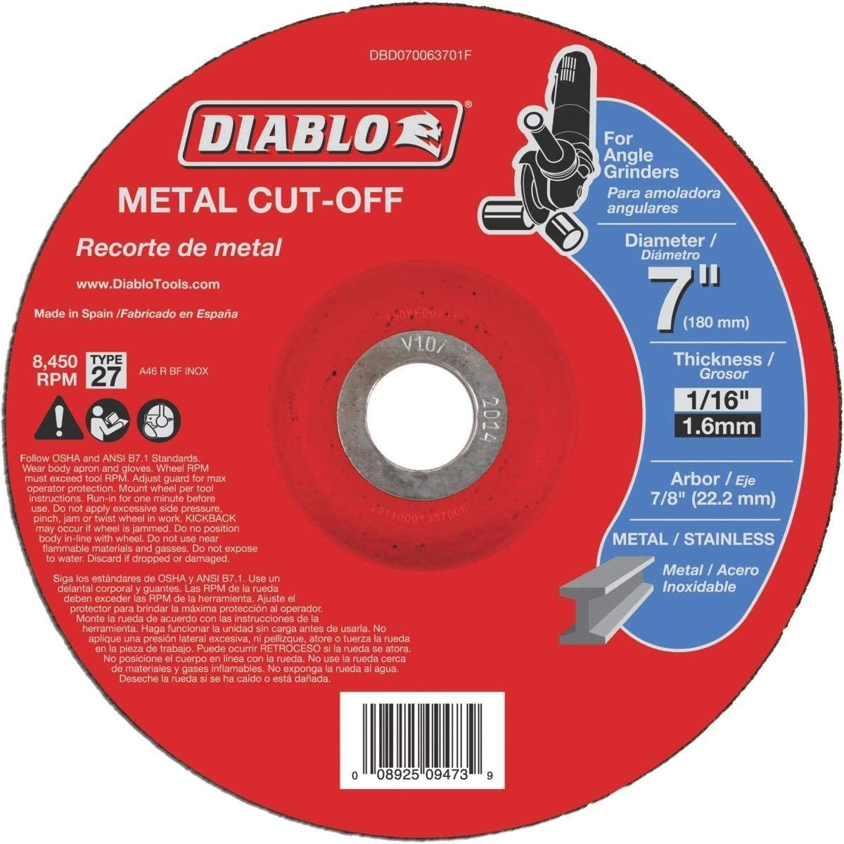 10-Pack x 1//8 in Dual Metal Cutting and Grinding Disc with Type 27 Depressed Center x 7//8 in Diablo 4-1//2 in