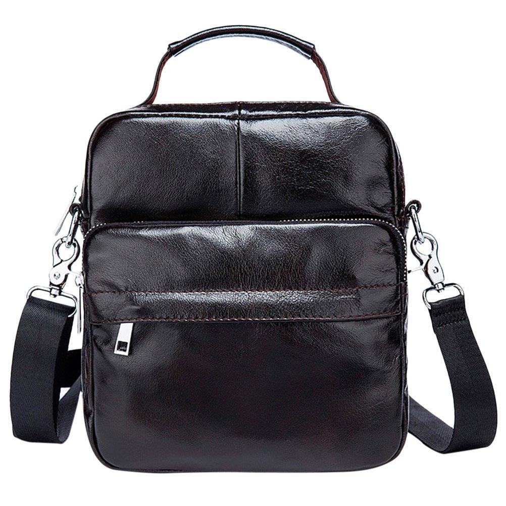 Zhuhaitf Mens Water Resistant Cowhide Leather Messenger Cross Body Shoulder Bag