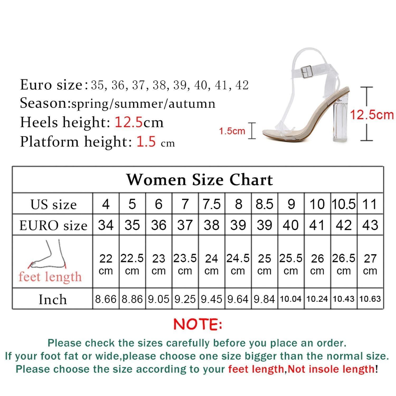 Amazon com | Women Lucite Strappy Block Chunky High Heel