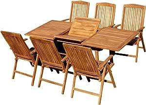 Edle teca XL jardín Mobiliario de jardín muebles de jardín mesa extensible 150 – 200 cm + 6 sillas con respaldo alto Tobago Madera barnizada de as de S: Amazon.es: Jardín