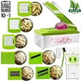 Vegetable Slicer Cutter, iLove Cooking [10 in 1] Stainless Steel Adjustable Multi Blades Chopper; Efficient and Fast; Strong-Hold with Cleaning Brush for Onion Potato Tomato Fruit & More Vegetable