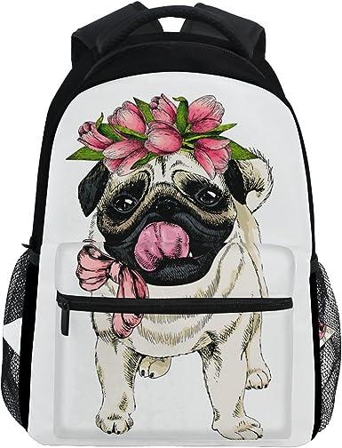 Dog Cute Pug Grey Backpack for Women Men Girl Boy Daypack Fashion Laptop Backpack School College Hiking Travel Bag Bookbag Schoolbag