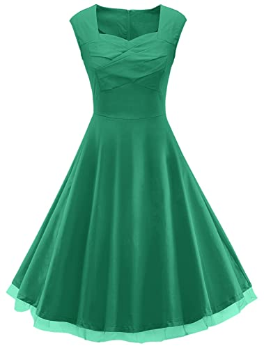 VOGVOG Women's 1950s Retro Vintage Cap Sleeve Party Swing Dress