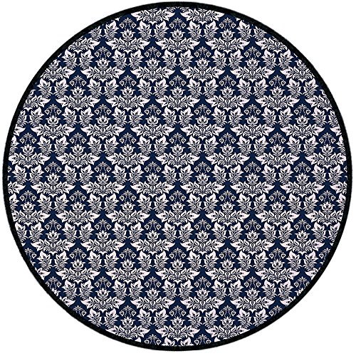 Printing Round Rug,Damask,Antique Floral Ornament with Baroque Style Curls Curves Foliage Nature Theme Decorative Mat Non-Slip Soft Entrance Mat Door Floor Rug Area Rug For Chair Living Room,Navy Blue