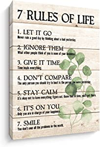 Motivational Quotes Wall Art- Plant Print 7 Rules of Life Inspirational Motto Canvas Print Wall Décor