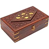 Diwali Gifts Hand Carved Decorative Wooden Jewelry Trinket Holder Organizer Keepsake Storage Box Chest with Brass Inlay