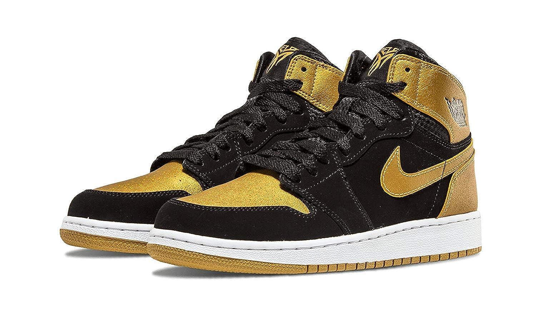 ee7ea68c33be2 Nike Air Jordan 1 Retro High BG 705300-026 Black/Gold/White Kids ...