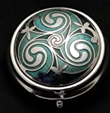Pill Box in Celtic Triskele Design. (Green) by Sea Gems presented by Celtic Glass Designs