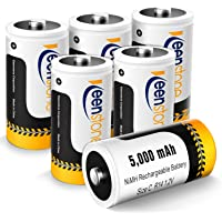 Rechargeable C Batteries, Keenstone 5000mAh 1.2V Ni-MH C Cell Battery, 6 Pack