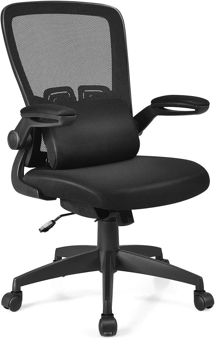 Giantex Mesh Ergonomic Desk Chair w/Portable Lumbar Pillow and Flip up Cushioned Armrests, Swivel High Back Mesh Computer Chair, Adjustable Height Drafting Stool(Black)
