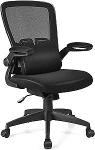 Giantex Mesh Ergonomic Desk Chair w/Portable Lumbar Pillow and Flip up Cushioned Armrests, Swivel High Back Mesh Computer Chair, Adjustable Height Drafting Stool(Black)