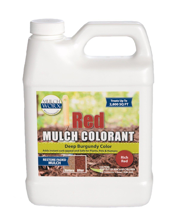 MulchWorx Red Mulch Color Concentrate - 2,800 Sq. Ft. - Deep Burgundy Red Mulch Dye Spray by MulchWorx