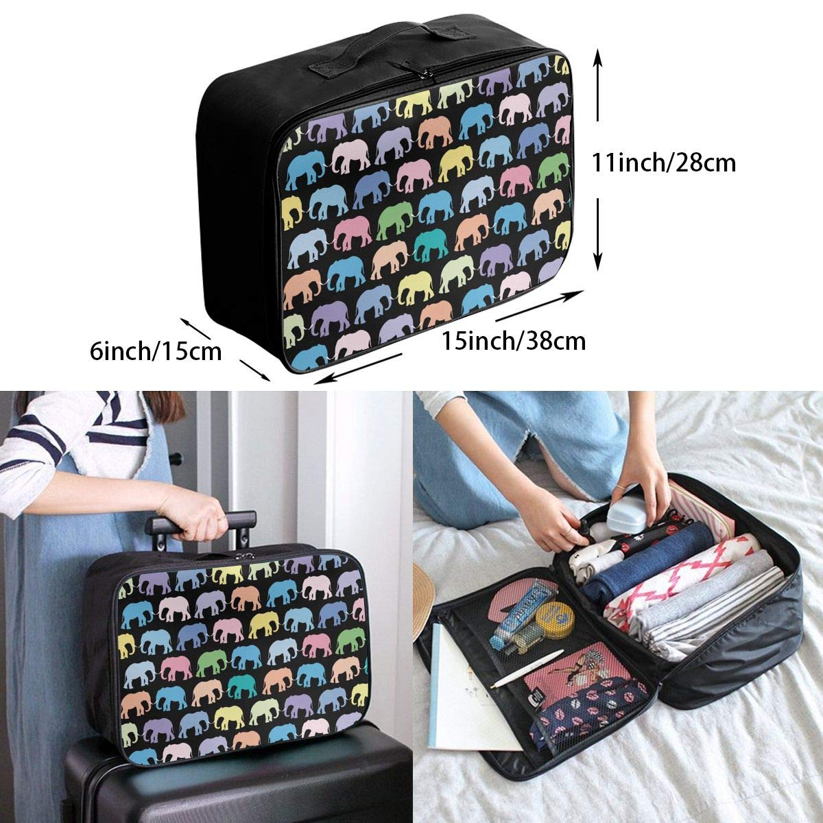 YueLJB Colorful Elephant Lightweight Large Capacity Portable Luggage Bag Travel Duffel Bag Storage Carry Luggage Duffle Tote Bag