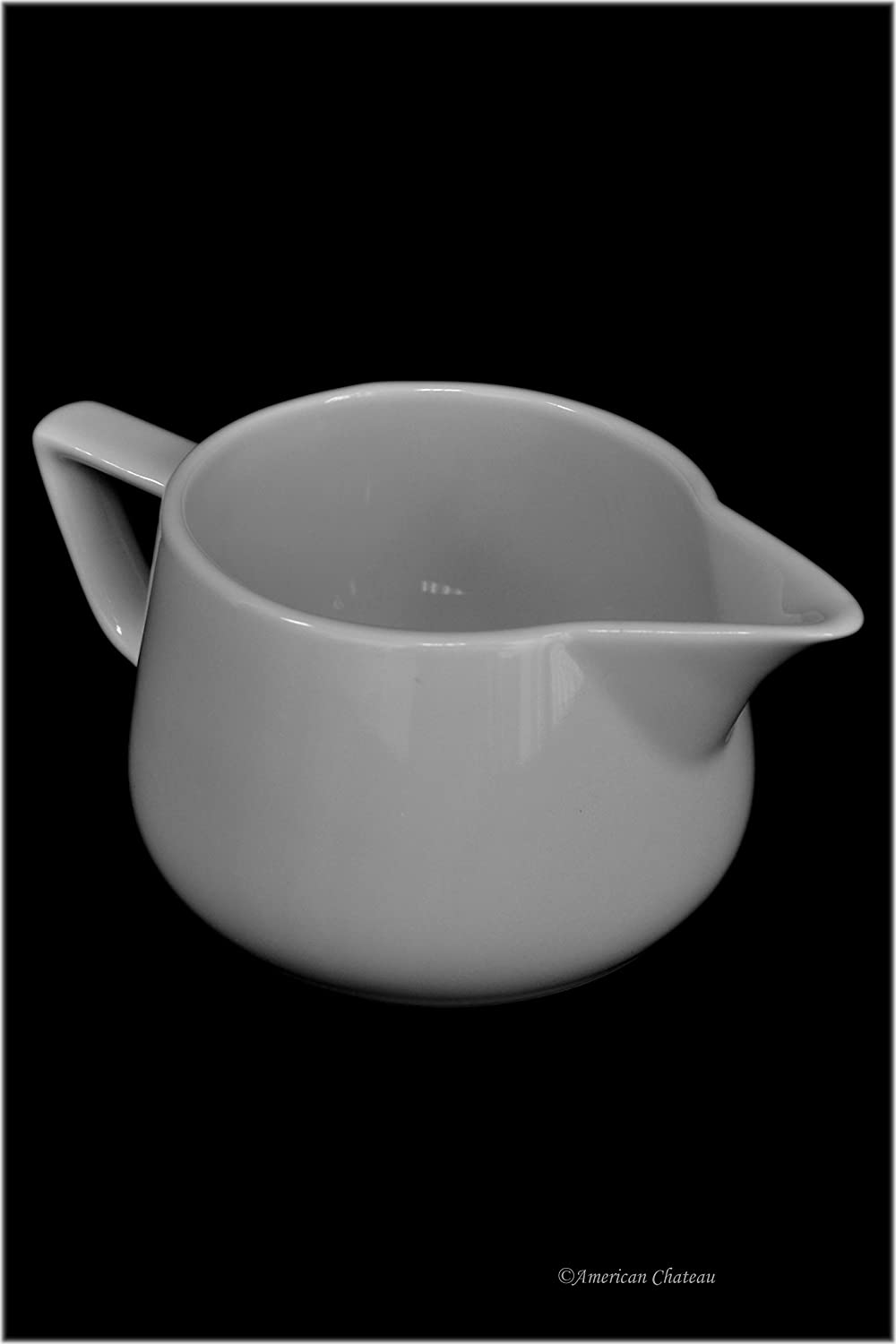 Small 12oz White Porcelain Gravy Sauce Bowl Boat with Spout & Handle American Chateau