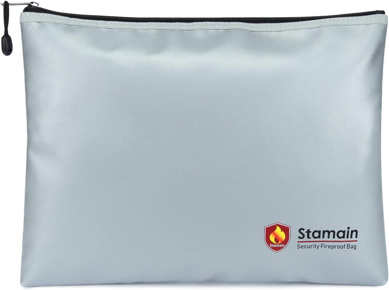 """Fireproof Safe Fireproof Document Bag Money Bag, Stamain Large Fireproof Bag(13.4""""x 9.8"""") with Zipper, Fire and Water Resistant Fire Safe Bag Home Safe for Money, Document, File, Valuables(Silver)"""