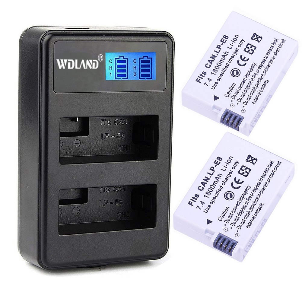 2 Pack WDLAND Replacement Canon LP-E8 Battery with Dual Charger, Li-Ion Power Battery for Canon EOS Rebel T5i, T4i, T3i, T2i, EOS 600D, 550D, 650D, 700D, Kiss X6, X5, Kiss X4, LC-E8E