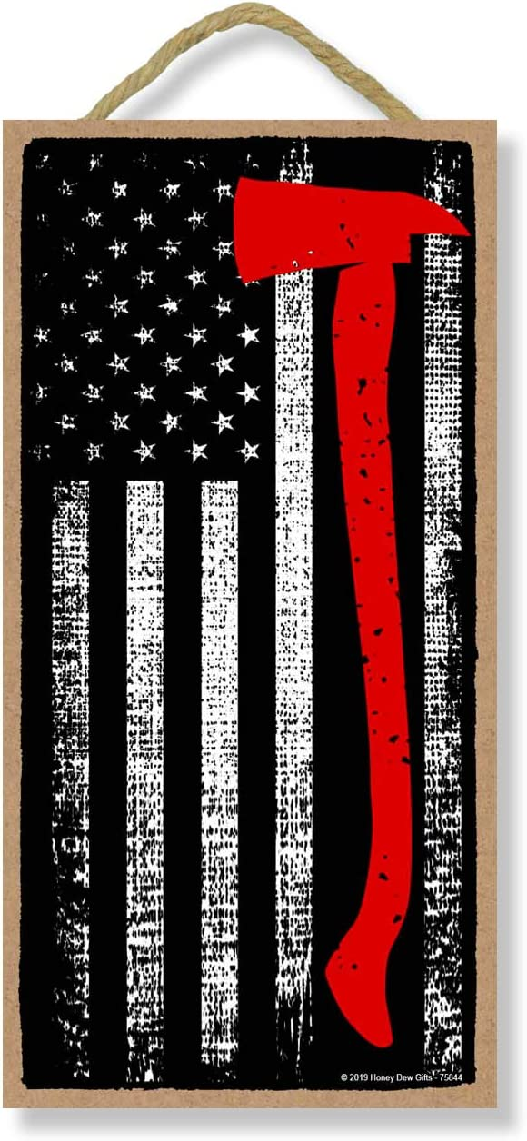 Honey Dew Gifts Firefighter Patriotic Signs, Thin Axe Red Line American Flag 5 inch by 10 inch Hanging Wall Art, Decorative Wood Sign, American Flag Wall Decor
