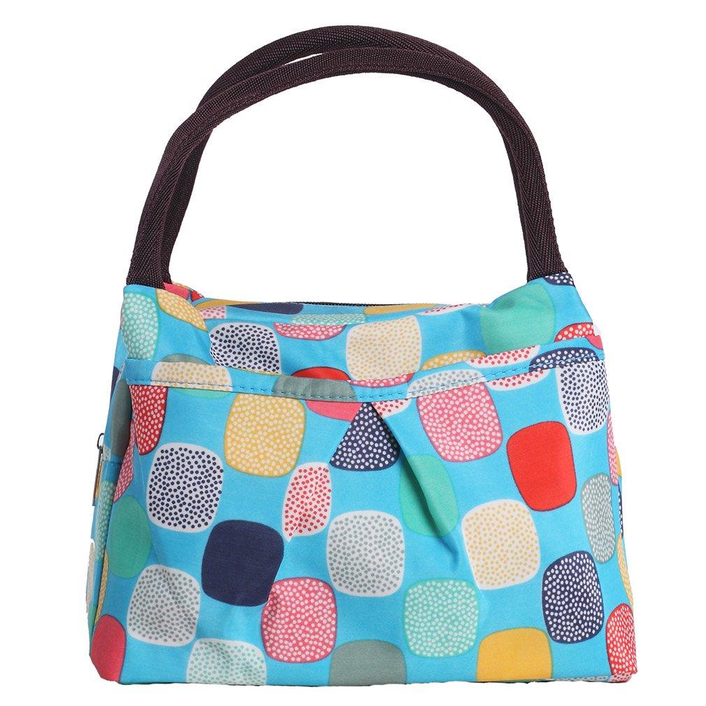 ZXKE Dots Print Design Women Bag Lunch Bag Tote (Cartoon candies blue) d101670