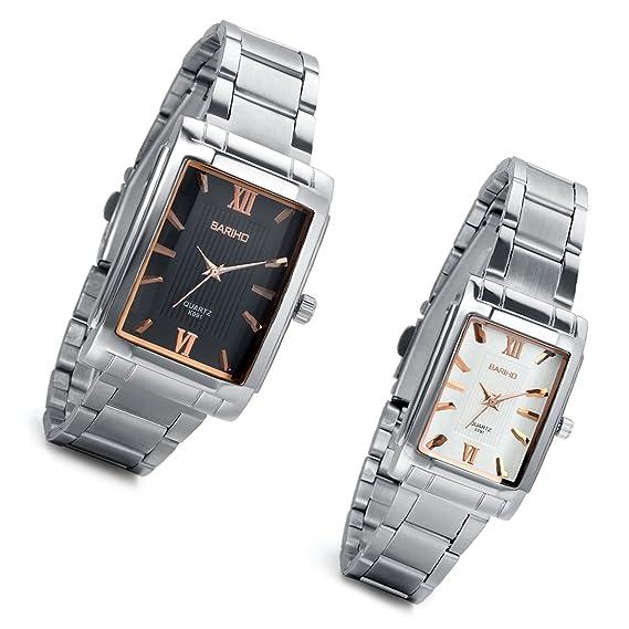 lancardo Reloj de pulsera para pareja Lovers con correa de acero inoxidable esfera números romanos cuadrado