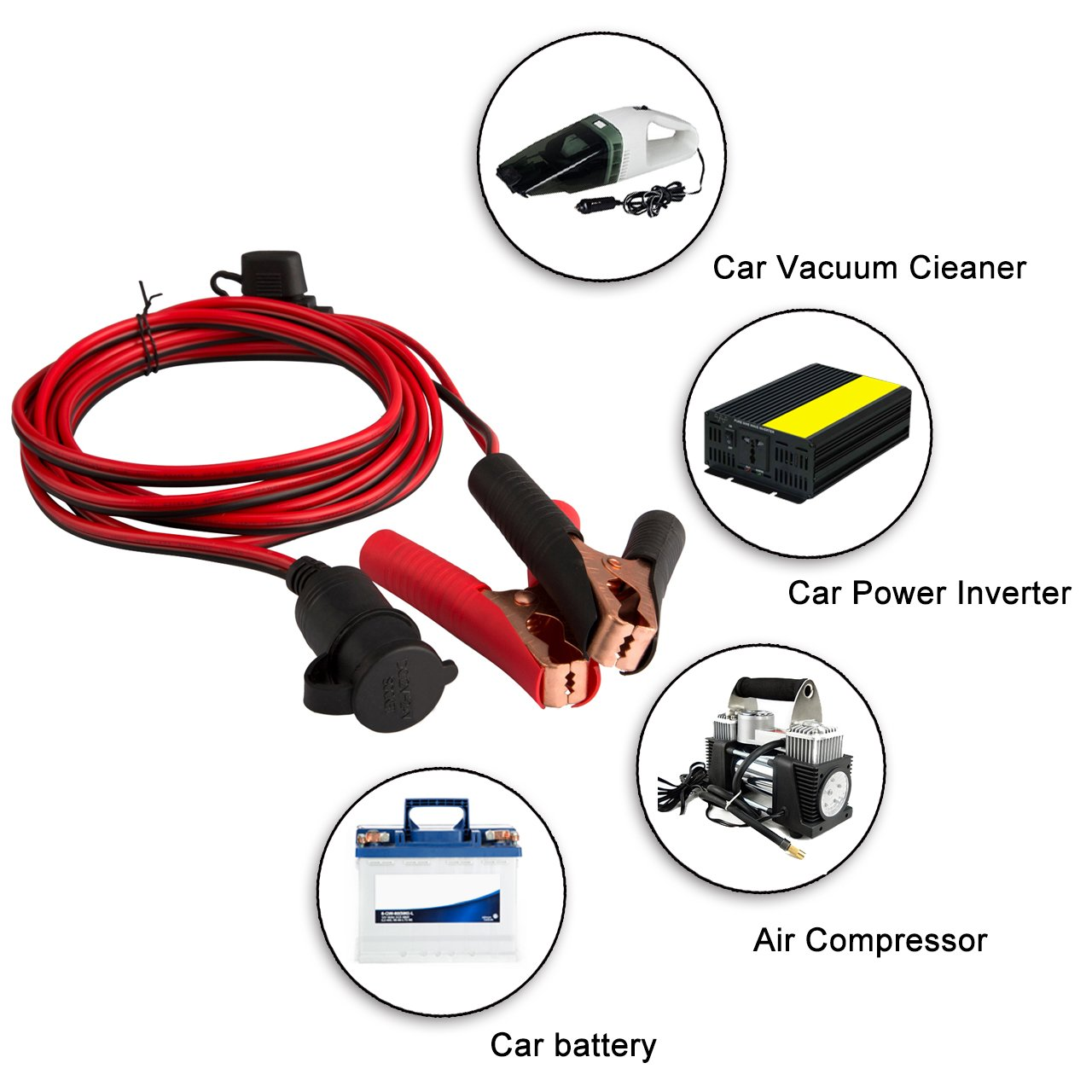 Magiin Car Battery Clip On Cigarette Lighter Socket Adaptor Cable Blade Fuse Tap Holder Add A Circuit Line Truck Rv Van Boat Ebay 12v 24v 3m 10ft Extension Cord With For Portable Air Compressor