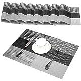 Sets de table (Ensemble de 8), Antidérapants, anti usure, résistant à la chaleur, PVC lavable, anti encrassement et lavable, sets de table pour cuisine ou pour table à manger, 30x45cm