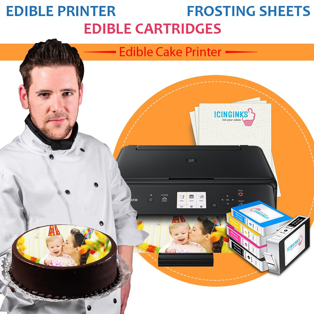 Edible Printer Bundle - Icinginks Canon Cake Printer With Refillable Edible Cartridges, Icing Sheets Pack - 12 Sheets - Newer Model Edible Printer by Icinginks (Image #6)