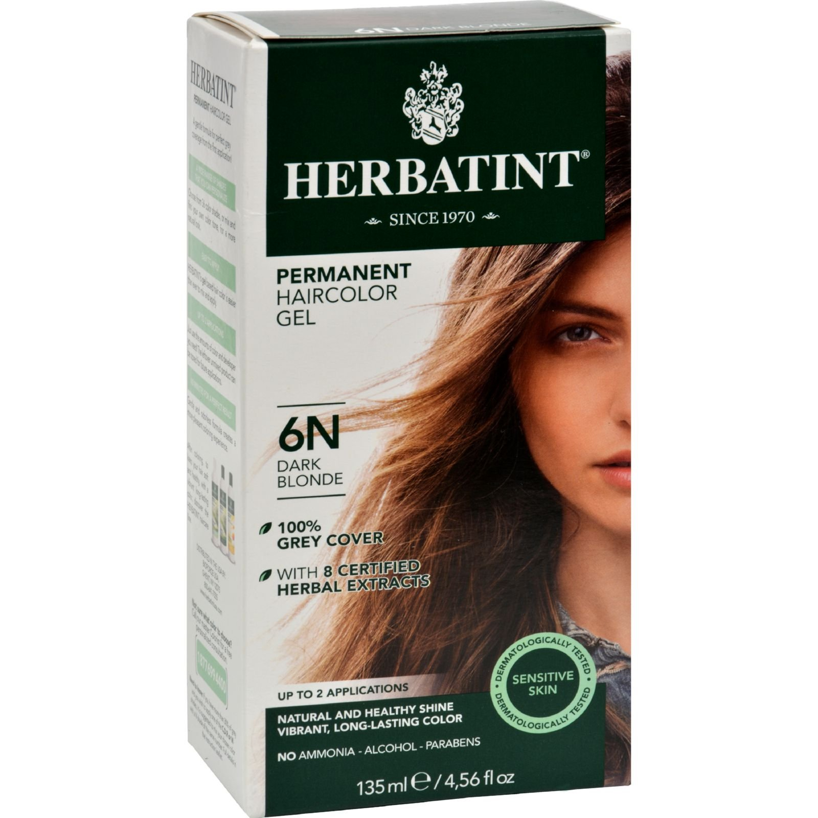 Herbatint Permanent Herbal Haircolour Gel 6N Dark Blonde - 135 ml (Pack of 4)