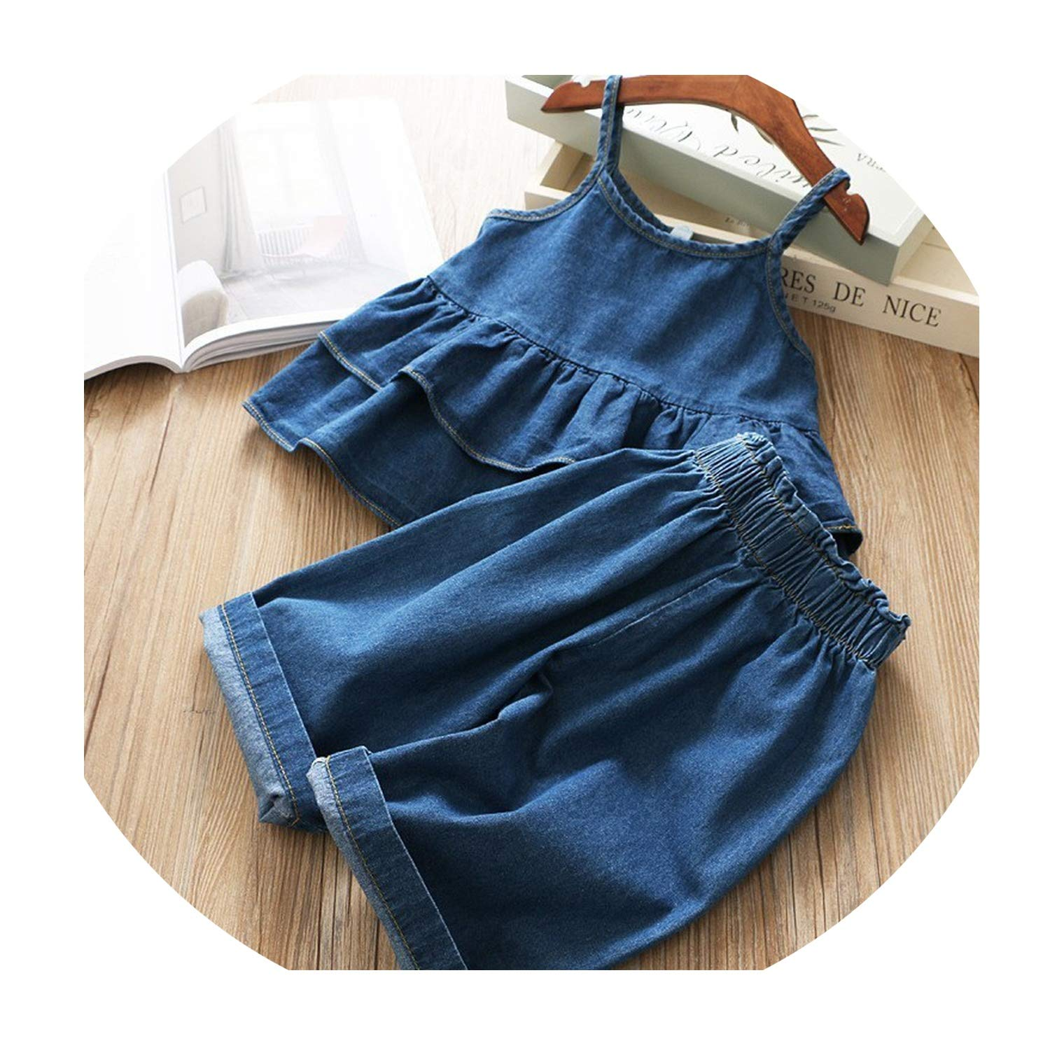 Summer Girl Denim Dress Solid Ruffles Baby Clothes Sets for Kids Boutiques Clothes,Blue,4Т