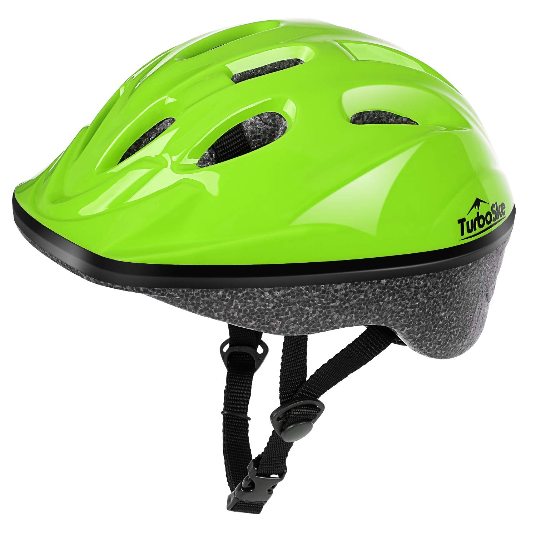 TurboSke Kid's Helmet, Children's Bike Helmet (Bright Green)