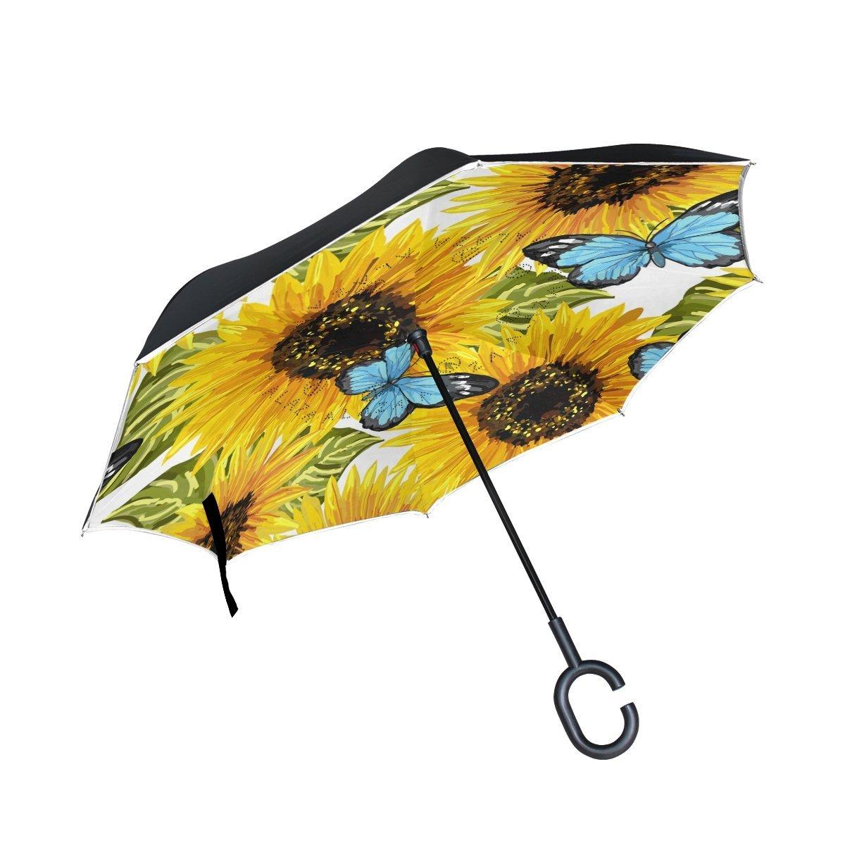 hengpai パイナップル 逆さ逆さ傘 車 ユニグー 防風 UV耐性 二層 女性用  マルチ4 B07G1F7QYB