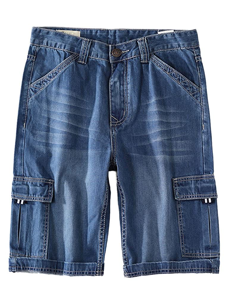 Idopy Men`s Summer Multi-Pockets Thin Regular Fit Denim Cargo Shorts
