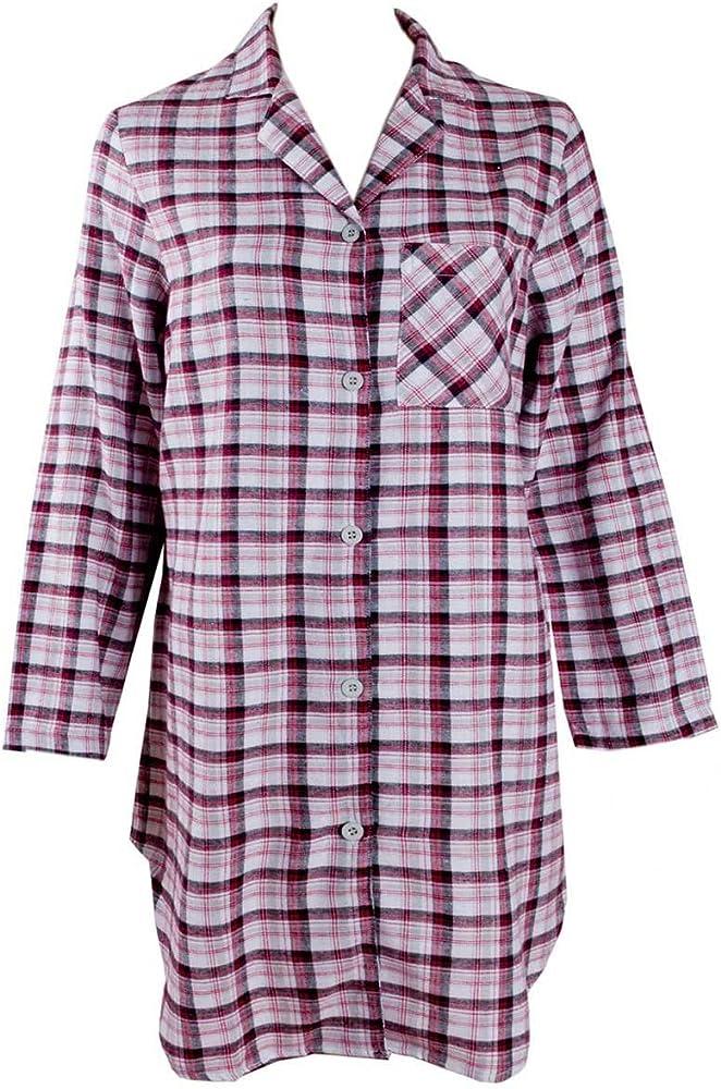 adonia mode cálida Camisa de Noche para Mujer Manga Larga, Talla 36/38, 2 Colores a Elegir Rot-Kariert 38: Amazon.es: Ropa y accesorios