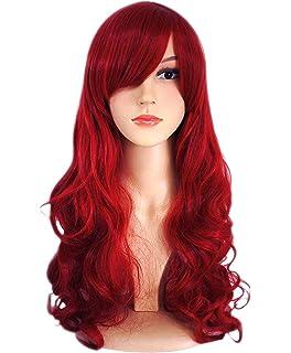 ATAYOU® Peluca larga ondulada de color rojo sintético para mujer Halloween y fiesta disfraz