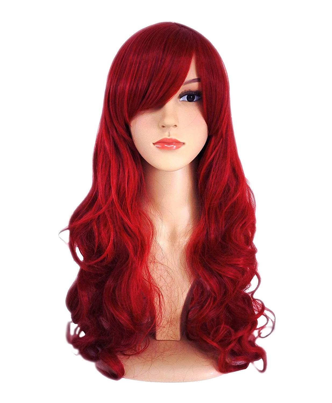 ATAYOU/® Long ondul/é Rouge Perruque Synth/étique pour Femme Costume de f/ête dHalloween et