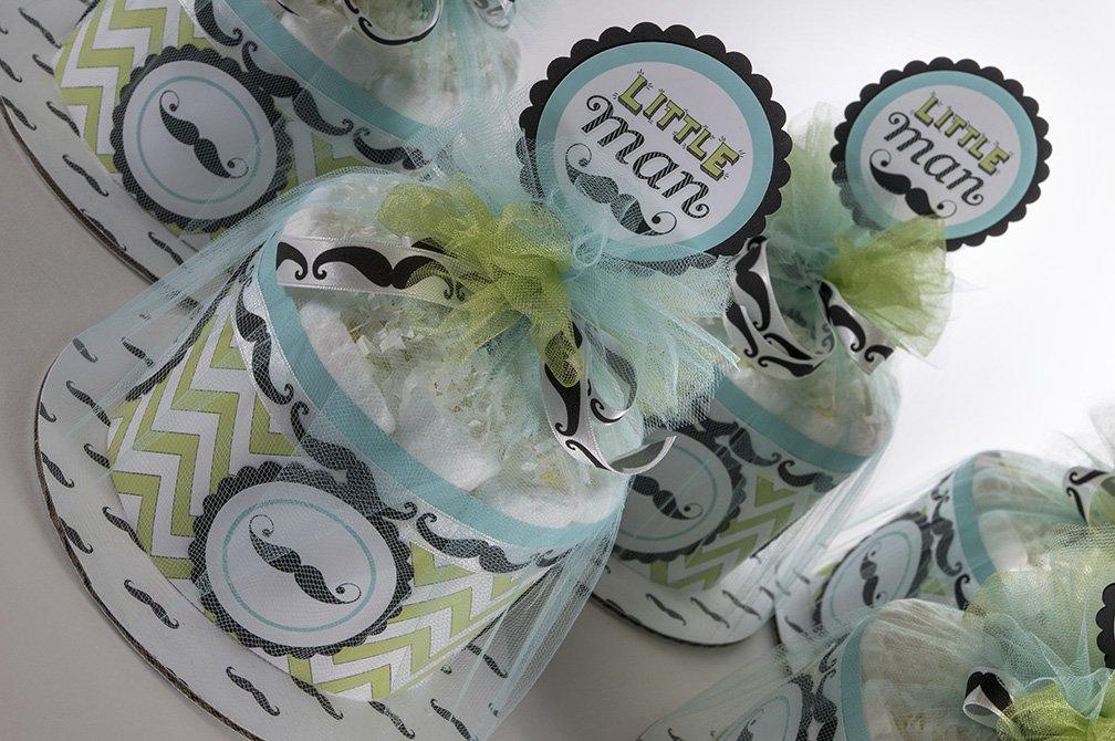 Five ''Little Man'' Mustache Theme Mini Diaper Cakes. Baby Shower Centerpieces.