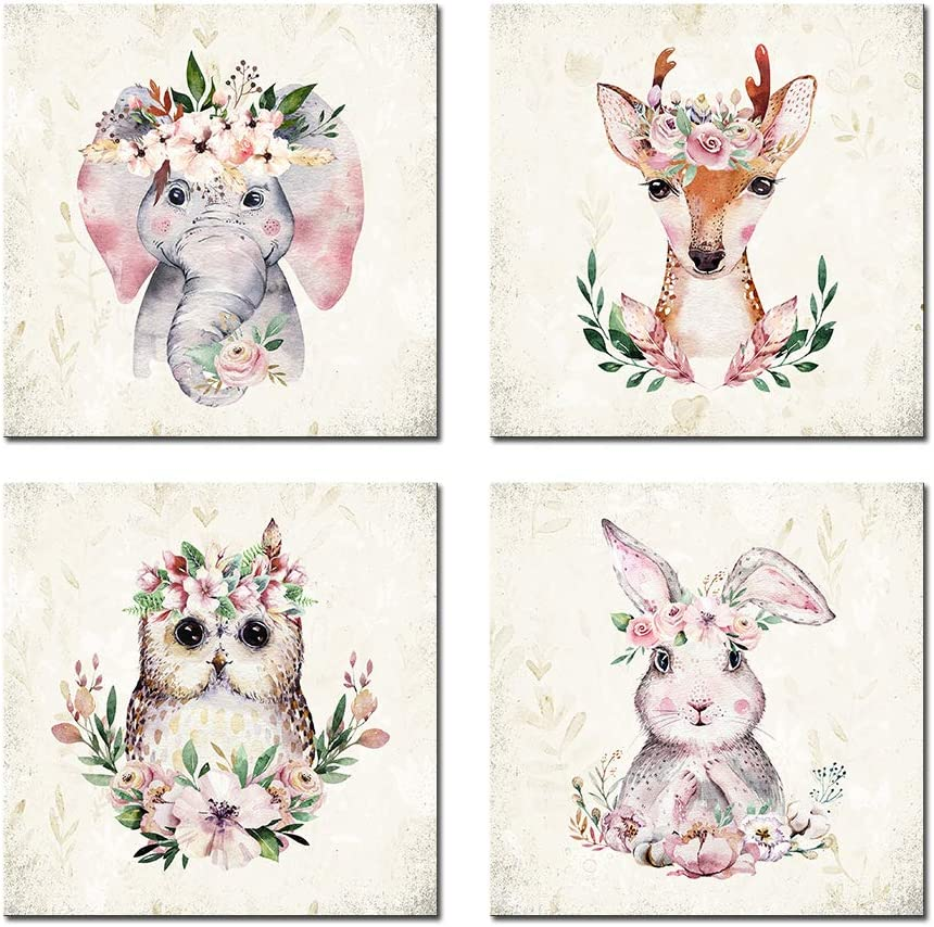 Woodland Baby Animals Floral Crowns Wall Art Canvas Set of 4 for Kids Room Decor Nordic Cute Woodland Animals Wall Pictures Art Prints Framed for Nursery Wall Home Decoration Small (12''x12''x4pcs)
