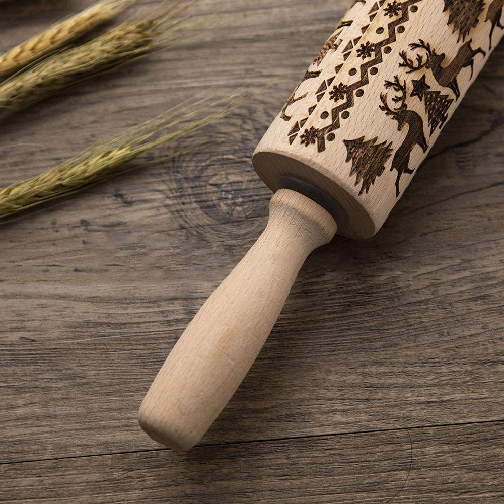 Pies Crusts TODAYTOP Christmas Elk Print Rolling Pin Trees Patterns Natural Wood Solid Bearing Embossing Patterned Rolling Pins Perfect for Baking with Kids Dough /& Fondant Cookies