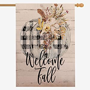 ZUEXT Welcome to Fall Large House Flag Vertical Double Sided,Black and White Plaid Pumpkin Cotton Linen Farm House Yard Sign,Autumn Thanksgiving Harvest Farmhouse Outdoor Vintage Decor 28x40 Inch