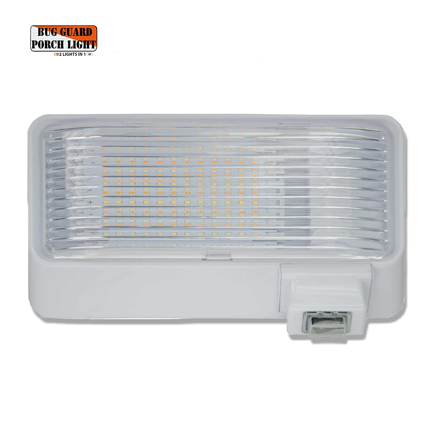 BUG-GUARD BG520W 12 Volt Functional Exterior RV long-life LED Flood Porch light with bright 220 lumen (Amber)/520 Lunen (White), 2 Lights in one. RV LED Lites