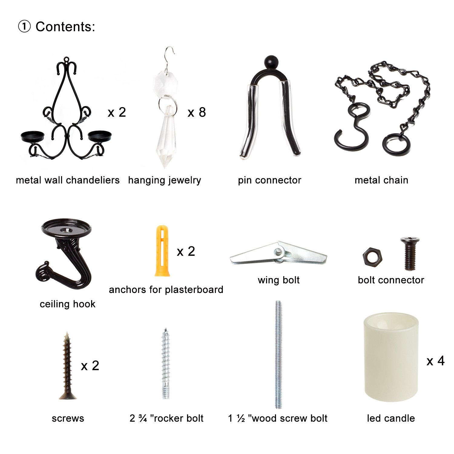 GiveU 3 IN 1 Lighting Chandelier, Metal Wall Sconce Set of 2, Table Centerpiece for Indoor or Outdoor, Chain and Candles Included, Black by GiveU (Image #7)